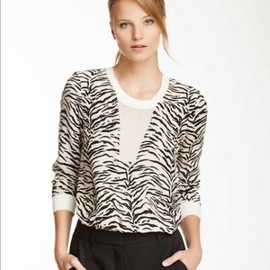 Rebecca Taylor Silk Tiger Stripe Semi Sheer Blouse